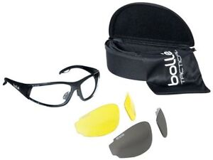 Bolle Rogue Tactical Safety Glasses Kit Blk Frm Clear Gray Amber Lenses