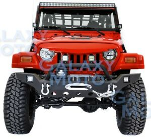 Rock Crawler Hdx Front Bumper Winch Plate 2pcs Led For 97 06 Jeep Wrangler Tj