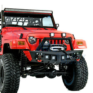 Rock Crawler Front Bumper Winch Plate 4x Led Light For 97 06 Jeep Wrangler Tj