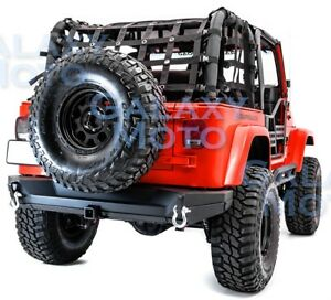 Full Width Rock Crawler Rear Bumper 2 Hitch 2x Plate For 97 06 Jeep Wrangler Tj