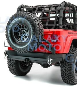 Rear Bumper Tailgate Tire Carrier 2 Hitch Dual Plate For 97 06 Jeep Wrangler Tj