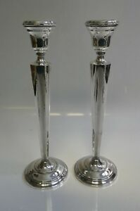 Vintage Hamilton Weighted Tall Sterling Pair Of Candle Holders Model Number 70