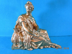 Large Sitting Woman Spelter Clock Topper New Haven C 1890 S