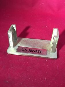 Us Senate Desktop Business Card Holder Display Brass Vintage Odd Unique Metal