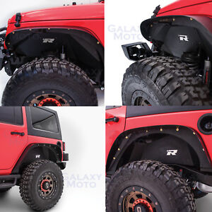 Rock Crawler Front Rear Inner Fender Liner Combo Kit For 07 18 Jeep Wrangler Jk