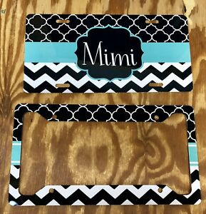 Personalized Mimi License Plate Frame Teal Quatrefoil Chevron Car Tag Custom New