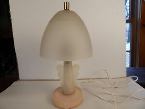 Vintage Art Deco Satin Glass Butterfly Wings Boudoir Lamp