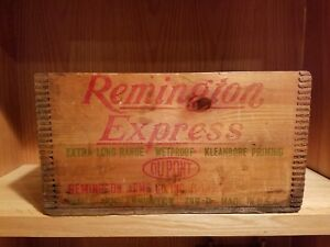 Nice Old Remington Express 20 Gauge Finger Jointed Wooden Shell Crate Box -Empty