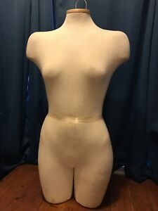 Female Torso Full Body Mannequin Hollow Cream Cloth Covered Dress Form Display