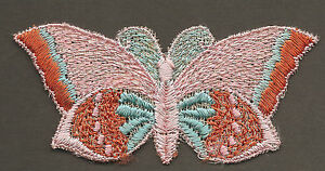 Vintage Antique Early 1900 Woven Silk Applique Use In Crazy Quilt Butterfly Pnk