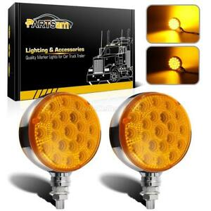 2pc Round 42led Amber Yellow Fender Turn Signal Parking Lights For Truck Trailer