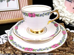Tuscan Tea Cup And Saucer Trio Pink Rose Teacup Pattern Gold Gilt Trio