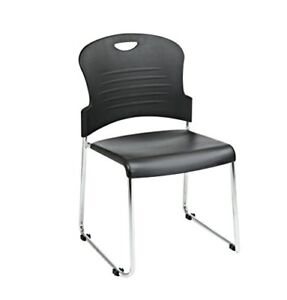 Office Star Stc866c4 3 Stack Chair With Sled Base With Plastic Seat And Back
