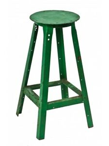 Depression Era Painted Machinist Stool With Solid Plate Steel Seat