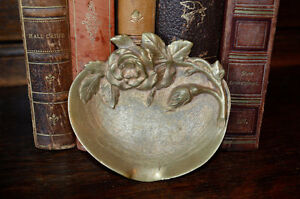 Antique Small French Bronze Floral Rose Trinket Dish Dresser Vanity Jewelry