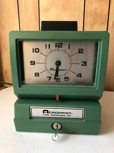 Vintage Acroprint Time Recorder Clock Manual Punch Model Works With Punch Cards