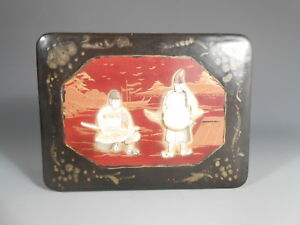 Japan Japanese Black Lacquer Box W Mother Of Pearl Figural Inlay Decor 20th C