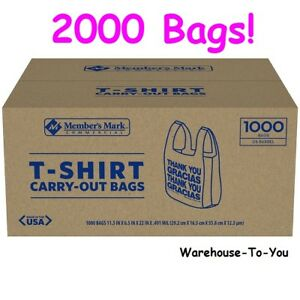 2 000 Ct Member s Mark T shirt Carry out Bags Plastic Liquor Store Restaurant
