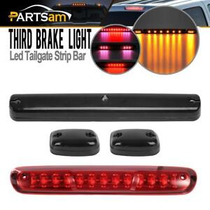 Red Third Brake Tail Cargo Light 3x Smoke Amber Cab Marker Set For Gmc Chevrolet