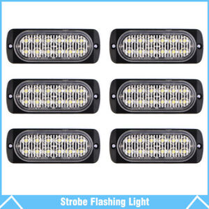 6 12 Led Strobe Light Emergency Flashing Warning Light For Car Truck White Amber