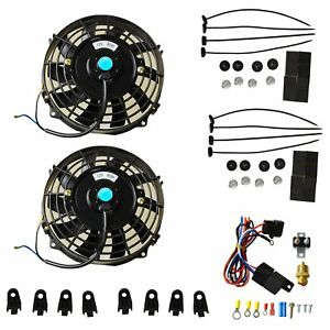 7 Universal 2pcs Electric Radiator Cooling Fans Thermostat Relay