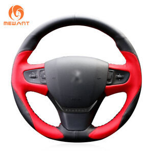 Top Design Red Black Leather Car Steering Wheel Cover For Peugeot 408 2014 2015