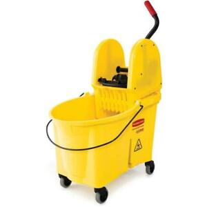 Rubbermaid Commercial Wavebrake Mop Bucket Press Wringer Combo 44 quart Yellow