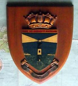 Old Vintage Hms Beachy Head Lighthouse Royal Navy Ship Badge Crest Shield Plaque