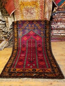 Stunning Vintage 1950 1960s Wool Pile 3 1 5 6 Tribal Prayer Rug
