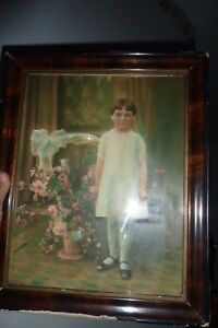 Antique Picture Girl Hand Tinted In Shabby Frame W Lg Wicker Basket Pink Roses