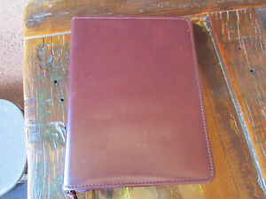 Burgundy Leather 3 Ring Organizer Planner Vintage Zip Around