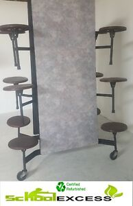 4 Available Folding Cafeteria Table Gray Marble Top W 12 Burgundy Stools 12 Ft