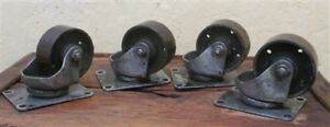 4 Vintage Cast Iron Factory Cart Dolly Wheels Industrial Age Swivel P Free Ship