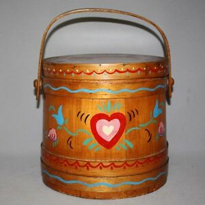 Antique Primitive Hand Painted Penn Dutch 10 Wooden Firkin Wood Pail Bucket