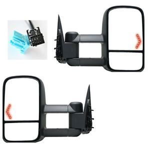 For 03 06 Silverado Tahoe Pickup Power Heated Towing Mirrors W Led Arrow Signal