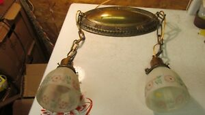 Antique Brass Oval Ceiling Light Fixture 2 Clambroth Floral Shades
