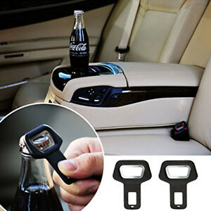Car Vehicle Safety Black Seat Belt Buckle Insert Warning Alarm Stopper Opener
