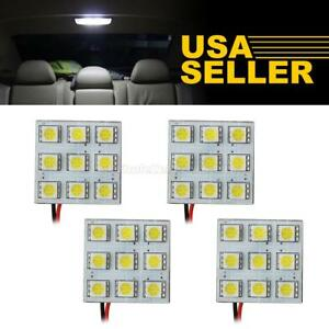 4x White 9smd 5050 Led Dome Map Cargo Lights Bulbs Universal Fit 12v