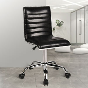 Office Chair Ribbed Pu Leather Swivel Adjustable Computer Seat Ergonomic Armless