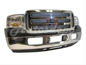 For Super Duty F450 F550 05 07 Front Bumper Valance Grille Chr Honeycomb Fog 8pc
