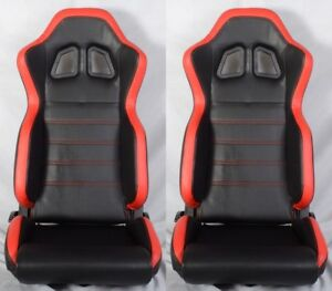 2 X R1 Style Black Red Racing Seats Reclinable Slider Fit For Honda A
