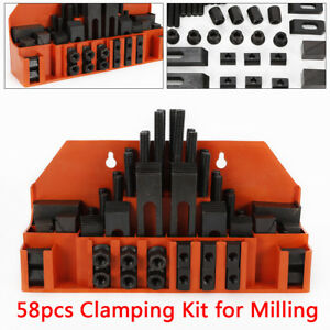 58pc 14mm M12 Clamping Kit For Mills With Bolts T nuts Clamps Milling Machine