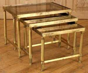 Set Of Three Mid Century Modern Brass And Smoke Glass Nesting Table Ca 1970