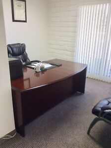 Lightly Used Cherry Executive Office Desk Attached L work Area Leather Chair