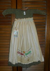 Primitive Wall Decor Dress Green Check W Apron Jingle Bells Grungy Christmas