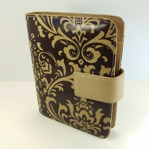 Franklin Covey Classic Tan Brown Paisley Vegan Planner Binder Organizer