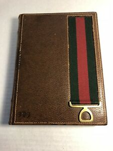 Authentic Vintage Gucci Brown Leather Journal Notebook Red Green Webbing Desk