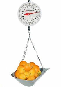 Detecto Mcs 40p Hanging Dial Scale With Scoop 40 Lb X 2 Oz