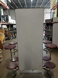 Cafeteria Folding Lunch Grey Top Table W 12 Burgundy Stool Adult Size 12ft L