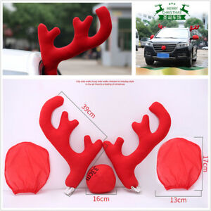Big Reindeer Red Antlers Nose Side Mirror Cover Car Christmas Decor Accessories
